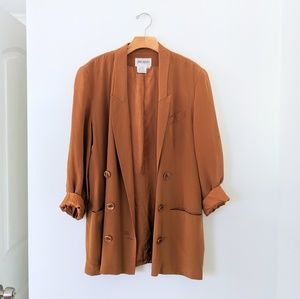 Vtg Burnt Orange Silk Oversize Blazer Jacket 8